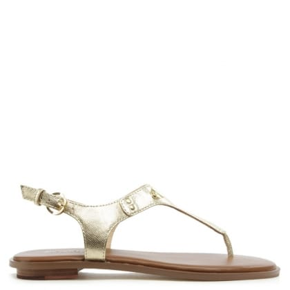 Michael Kors Plate Thong Gold Leather Sandal