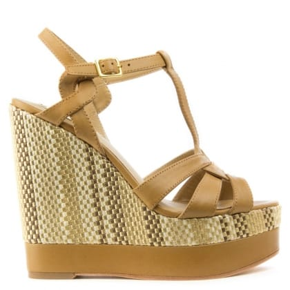 Lauren by Ralph Lauren Maeva Tan Leather T Bar Wedge Sandal