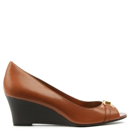 Lauren by Ralph Lauren Paula Tan Leather Wedge Shoe