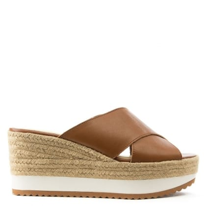 Lauren by Ralph Lauren Reno Tan Leather Raffia Flatform Sandal