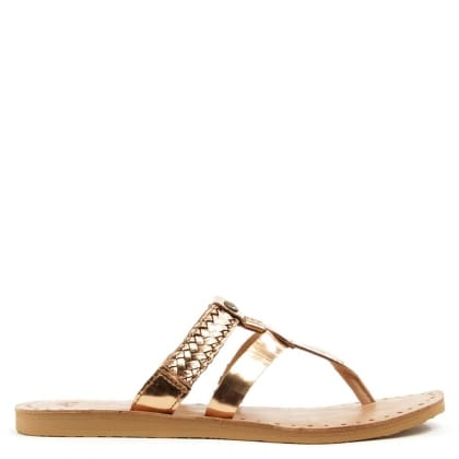 UGG Australia Audra Rose Gold Leather Toe Post Flip Flop