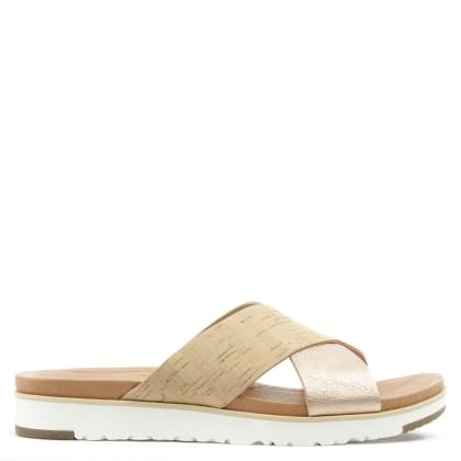 UGG Australia Kari Cork & Rose Gold Criss Cross Sandal