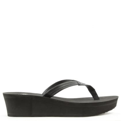 UGG Australia Ruby Black Wedge Toe Post Flip Flop