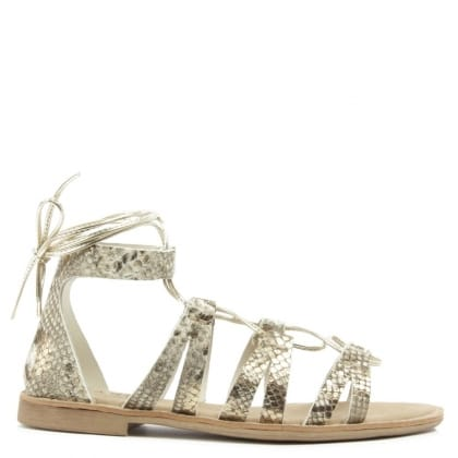 Daniel Honey Brook Gold Leather Reptile Gladiator Sandal