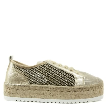Daniel San Diego Gold Leather Lace Up Flatform Espadrille