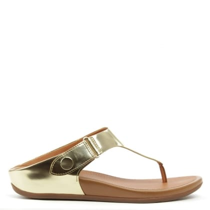 FitFlop Gladdie Toe Post Gold Leather Flip Flop