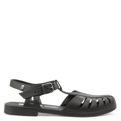 Melissa Aranha Black Matte T-Bar Jelly Sandal