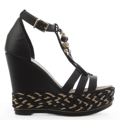 Daniel Palmira Black Leather Beaded T Bar Wedge Sandal