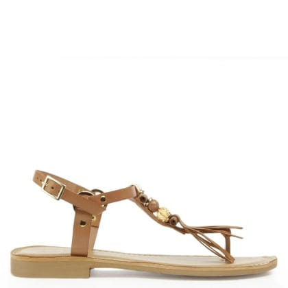 Daniel Puno Tan Leather Embellished T Bar Sandal