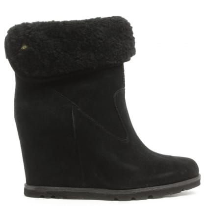 UGG Kyra Black Suede Roll Top Wedge Ankle Boot
