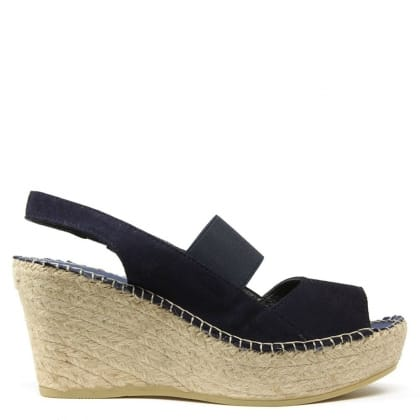 Daniel San Francisco Navy Suede Sling Back Wedge Espadrille