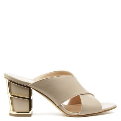 Daniel Simmie Beige Leather Cross Strap Caged Heel Mule