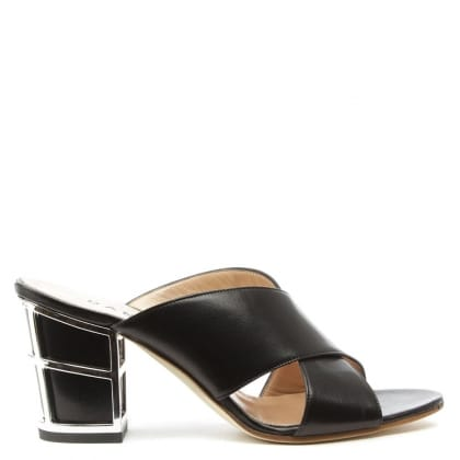 Daniel Simmie Black Leather Cross Strap Caged Heel Mule