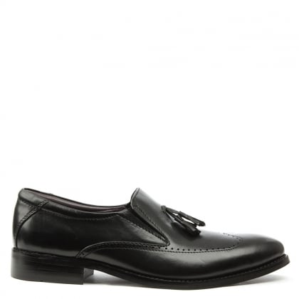 Gucinari Black Leather Tassel Loafer