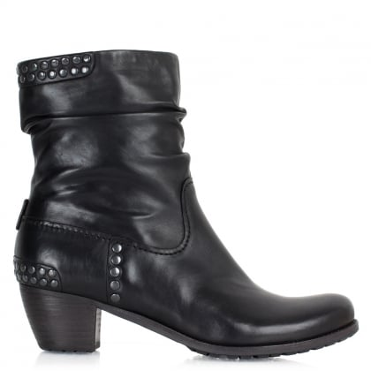 Kennel & Schmenger Black Leather 21 35110 Women's Studded Ankle Boot