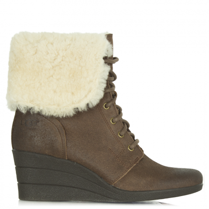 UGG Zea Chocolate Low Wedge Ankle Boot