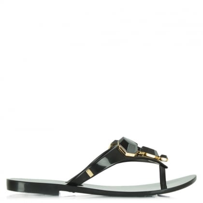Melissa Colour Crystal Black Rubber Flip Flop