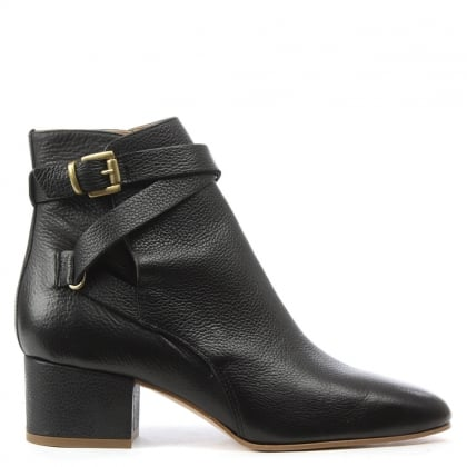 Daniel Lyndhurst Black Leather Ankle Strap Boot