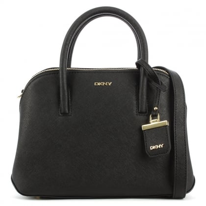DKNY Bryant Zip Small Black Leather Satchel Bag