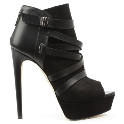 Angela Angvanessa Black Suede Platform Shoe Boot