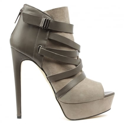 Angela Angvanessa Grey Suede Platform Shoe Boot