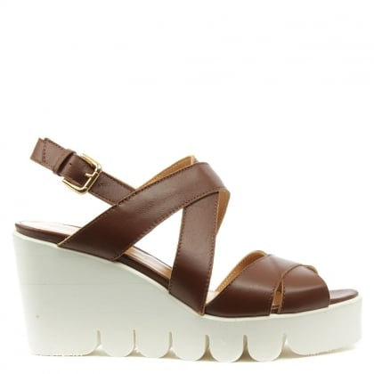 Angela Ocella Tan Leather Cleated Wedge Sandal