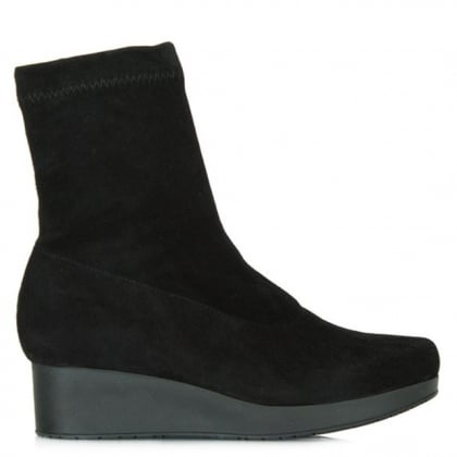 Robert Clergerie Women's Nerdal Black Suede Wedge Ankle Boot