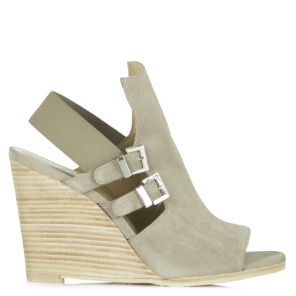 Stuart Weitzman Taupe Suede Facelift Wedge Sandal