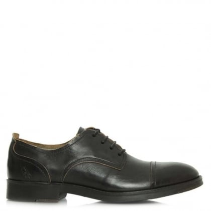 Fly London Men's Home Black Leather Lace Up Shoe