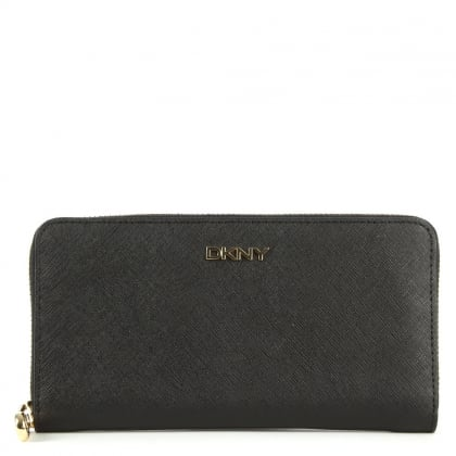 DKNY Bryant Black Saffiano Leather Zip Around Wallet