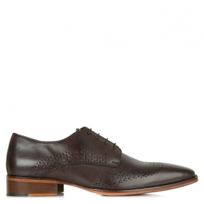 Gucinari Brown Leather Hole Punch Lace Up Shoe