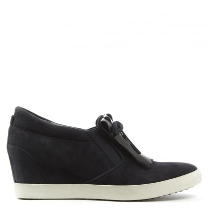 Kennel & Schmenger Ragdoll Fringe Navy Suede Wedge Shoe