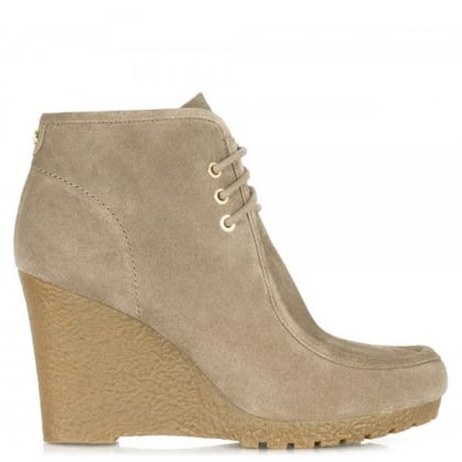 Michael Kors Woman's Rory Taupe suede Lace Up Ankle Boot