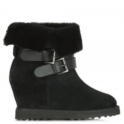 Yesash Black Suede Wedge Boots
