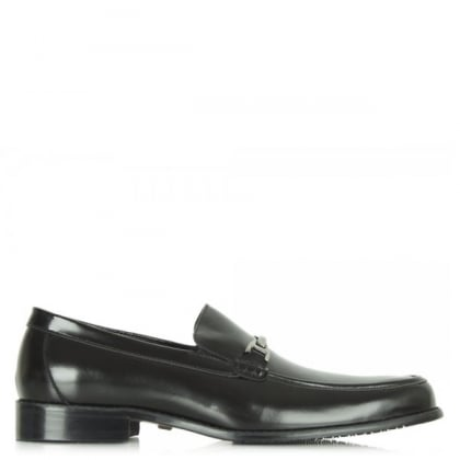 Black Romeo Gigli Men's Leather Loafer with Metal Trim
