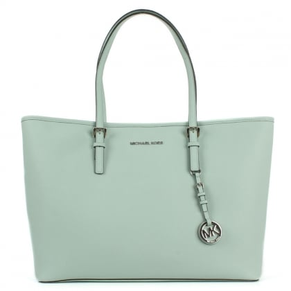 Michael Kors Jetset Multifunctional Top Zip Celadon Leather Tote Bag