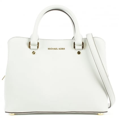 Michael Kors Savannah Optic White Leather Mid Satchel Bag