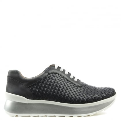 Vitti Love Alluvia Navy Leather Woven Platform Trainer