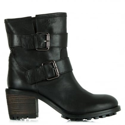Daniel  Surprised Black Leather Biker Heeled Ankle Boot