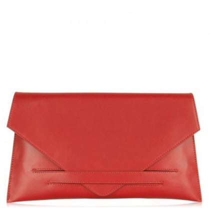 Daniel Red Leather Women's Envelope Clutch Bag