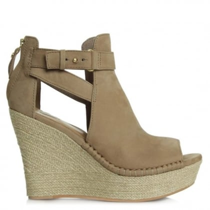 UGG Jolina Tawny Leather Peep Toe Wedge Sandal