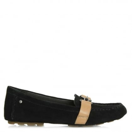 UGG Aven Black Suede Driving Moccasin