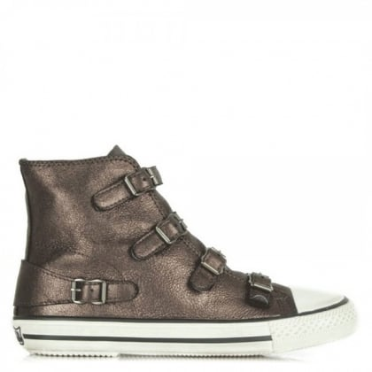 Ash Virgin Bis Brown Metallic Leather High Top Trainer