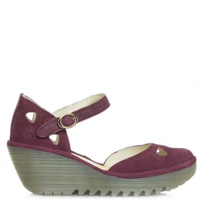 Fly London Yuna Cupido Magenta Suede Close Toe Sandal