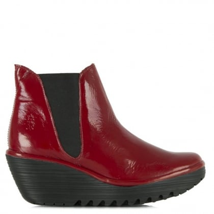 Fly London Red Patent Woss Wedge Ankle Boot