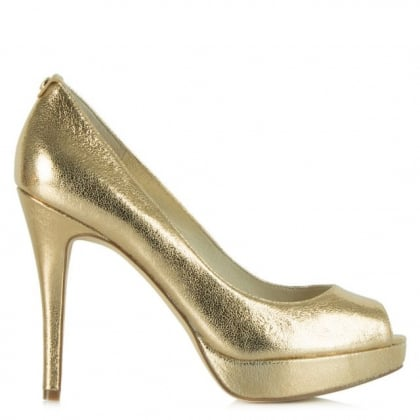Michael Kors York Platform Gold Leather Court Shoe