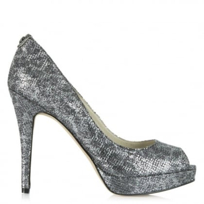 Michael Kors York Platform Pewter Reptile Court Shoe