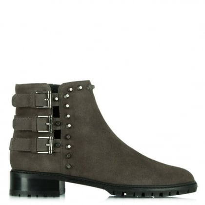Stuart Weitzman Tackle Grey Suede Studded Ankle Boot