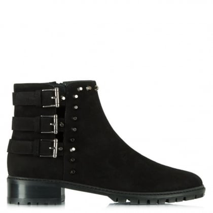 Stuart Weitzman Tackle Black Suede Studded Ankle Boot