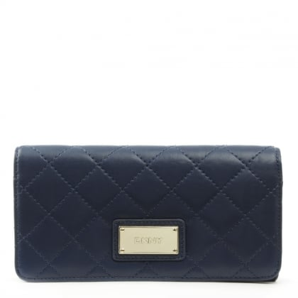 DKNY Gansevoort Quilted Ink Leather Large Carryall Wallet